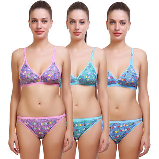 SK Dreams Printed Lingerie Sets (Pack of 3)