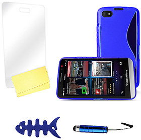Zigcart Blue S Line Mobile Cover for Blackberry Z30 Includes Fish Winder, Stylus, Screen Guard and Cleaning Cloth