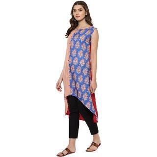Janasya Women's Multicolor Crepe High Low Hemline Floral Print Kurta