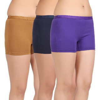 Care in Womens Beige Navy Royal blue Solid Short (Pack of 3)