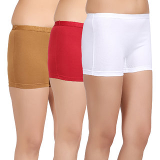 Care in Womens Beige Red White Solid Short (Pack of 3)
