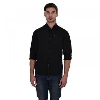 Stylox Men's Solid Casual Black Shirt