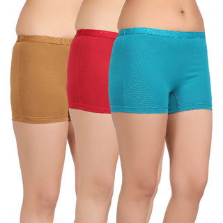 Care in Womens Beige Red Sky blue Solid Short (Pack of 3)