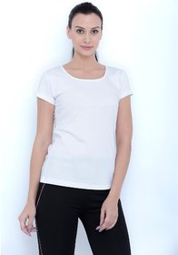 Tuna London White color Round Neck Cotton Tshirt for womens