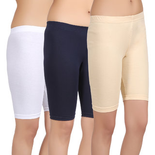 Care in Women's White, Navy, Brown Solid Short (Pack of 3)