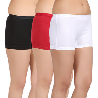 Care in Women's Black, Red, White Solid Short (Pack of 3)