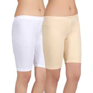 Care in Women's White, Brown Solid Short (Pack of 2)