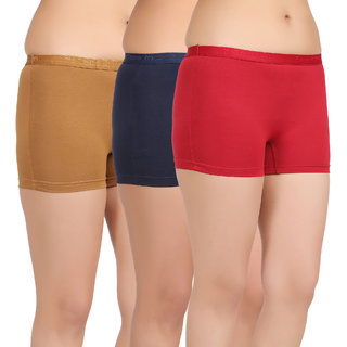 Care in Womens Beige Navy Red Solid Short (Pack of 3)