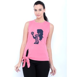 Tuna London Pink color Round Neck Cotton Tshirt for womens