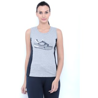 Tuna London Grey color Round Neck Cotton Tank Top for womens