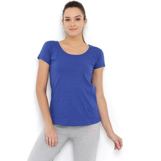 Tuna London Royal Blue color Round Neck Cotton Tshirt for womens