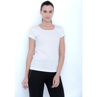 9b22c83ab76e1 Tuna London White color Round Neck Cotton Tshirt for womens