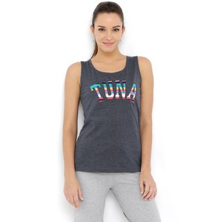 Tuna London Grey color Boat Neck Cotton Tank Top for womens