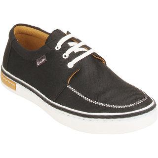 Quarks Men's Black Smart Canvas Casual Shoes