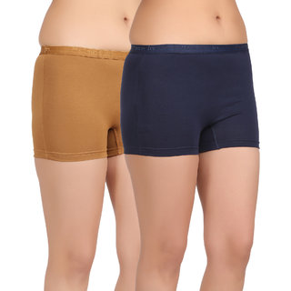 Care in Womens Beige Navy Solid Short (Pack of 2)