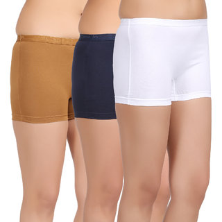 Care in Womens Beige Black White Solid Short (Pack of 3)