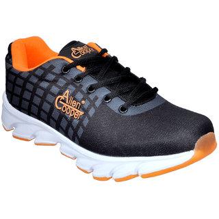 Allen Cooper Men's Black Lace-up Sports Shoes