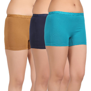 Care in Womens Beige Navy Sky blue Solid Short (Pack of 3)