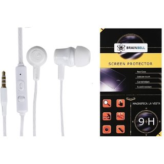 BrainBell COMBO OF UBON Earphone UH-281 TUFF SERIES NOICE ISOLATING CLEAR SOUND UNIVERSAL And  MICROMAX BOLT Q326 Tempered Scratch Guard
