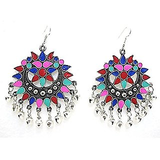 muccasacra Popular amp Trendy Smoked N Multicolour Afghani Earring