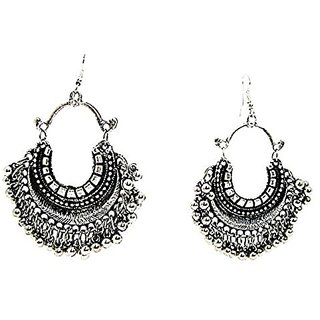 Muccasacra Crazy Fashion Silver Finish Afghani Alloy Dangle Earring