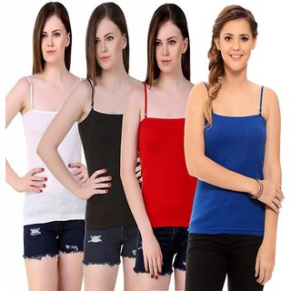 Women's Pack Of 4 Plain Camisole (Color May Vary)