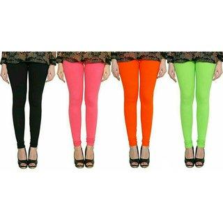 33ab142a23947 ALISHAH Black Bubblegum Pink Dark Orange Parrot Green Cotton Lycra Premium  Leggings Combo for women (Pack Of 4)