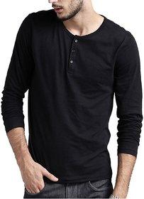 Full Sleeve Men's Black Henley-Neck T-Shirt