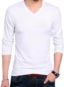 Full Sleeve Men's White V-Neck T-Shirt