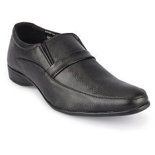Quarks Men's Black Synthetic Slip On Formal Shoes