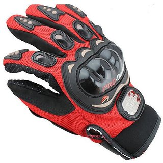 Probiker- Red Probiker Full Hand Premium Riding Golves (Free Size)