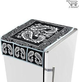 E-Retailers  black and white peacock design fridge top cover