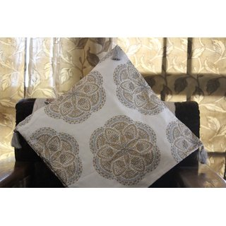 White Floral print with Hand Emriodery Cotton Cushion Cover(20*20)