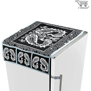 E-Retailers  black and white peacock design fridge top cover