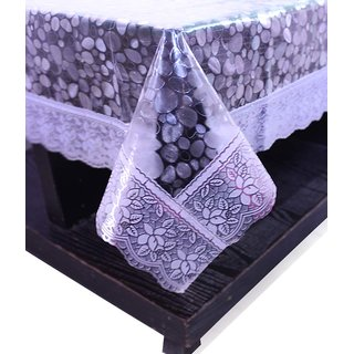 E-Retailers Transparent Pvc Lace Center Table Cover (40X60 Inch)