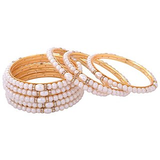 Aakshi  White Pearl and Diamond Bangle  4-PC Bangle Set