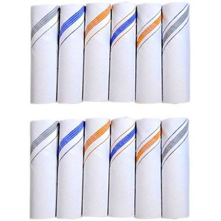 Set Of 12 Pc Premium Quality Men's Pure Cotton Hanky/ Handkerchief (L1)