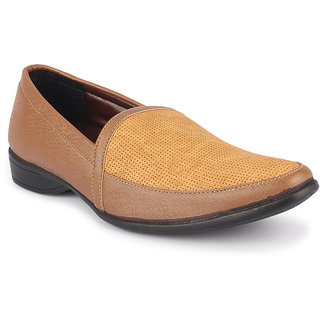 Quarks Men's Tan Synthetic Slip On Casual Shoes