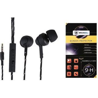 BrainBell  UBON UH-997 HIGH RESOLUTION EARPHONE And  MICROMAX BOLT Q326 Guard Screen Protector