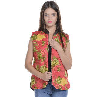 2bbd56cfef3a23 Buy Lavennder Multi color Flowe print Sleeveless Quilted Reversible Winter Jacket  Online - Get 50% Off