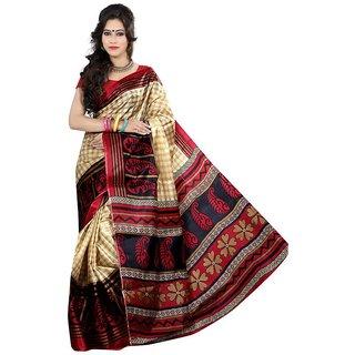 Sharda Creation Red Colour Taffeta Silk Saree Without Blouse Piece
