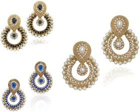Fashion Jewels  Blue Black White Casual/Partywear/Dailywear/Wedding Pearl Jhumka/Jhumki Earrings For Girls/WomanBlu