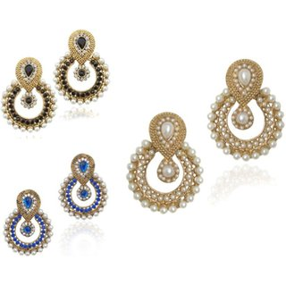 Fashion Jewels Blue Black White Casual Partywear Dailywear Wedding Pearl Jhumka Jhumki