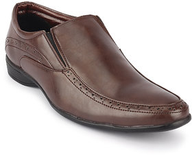 Quarks Men's Brown Synthetic Slip On Formal Shoes