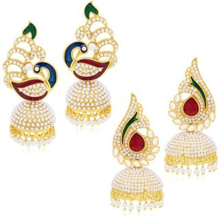 Fashion Jewels Green Maroon Blue White Casual/Partywear/Dailywear/Wedding Pearl Jhumka/Jhumki Earrings For Girls/Woman