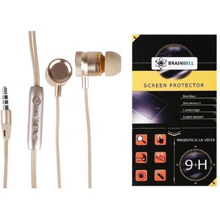 BrainBell COMBO OF UBON Earphone MT-32 METAL SERIES WITH NOISE ISOLATION WITH PRECISE BASS HIGH FIDELIETY SOUND And  SAMSUNG GALAXY S6 Tempered Scratch Guard Screen Protector