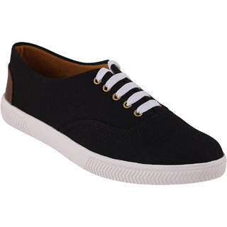 Quarks Men's Black Smart Canvas Casual Shoes