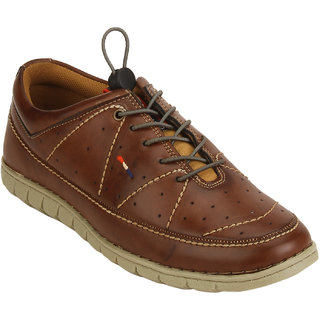 Quarks Men's Brown Synthetic Smart Casual Shoes