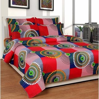 Geometric Design Double Bedsheet With 2 Pillow Covers - 228 x 216 cm