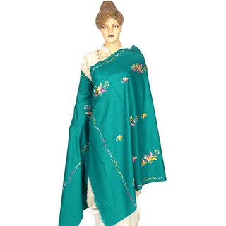 Saffanah Aari  Work (Kashmiri) Woolean Shawl